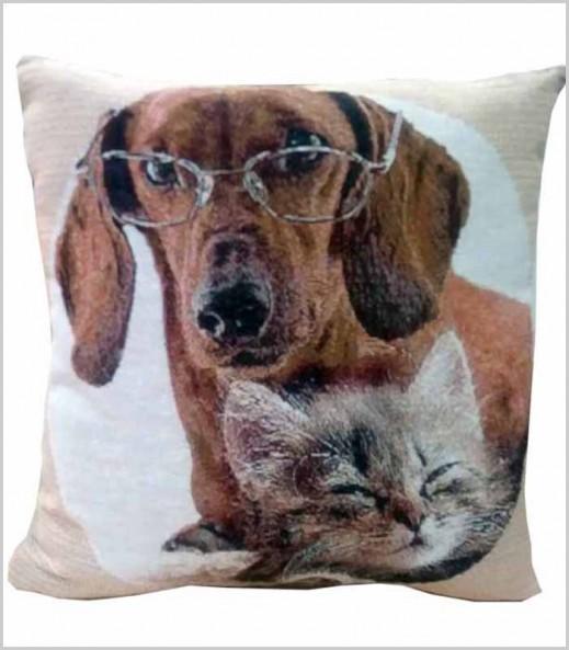 Cojín Mascotas Salchicha + Gato