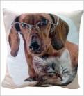 Cojín Mascotas Perro Salchicha + Gato