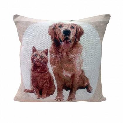 Cojín Mascotas Perro Golden + Gato